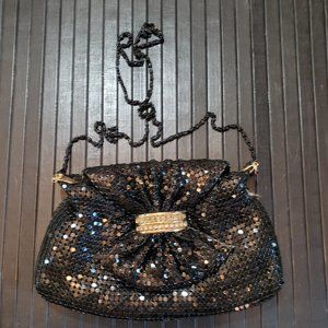 Vintage Mesh Black Shiny Evening Clutch Bag Purse